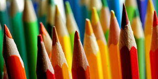 Coloured pencils. In vibrant colors of rainbow Stock Photography