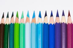 Coloured pencils. On white background stock photography
