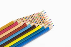 Coloured pencils on white background Royalty Free Stock Images