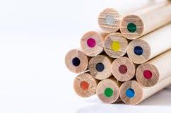 Coloured Pencils on White Background. Stock Photo