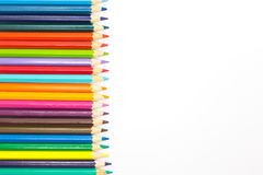 Coloured pencils on white background Royalty Free Stock Photo