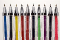 Coloured pens. Coloured pens on white background Royalty Free Stock Photo