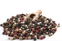 Coloured Pepper With Spoon Royalty Free Stock Photography