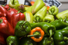 Coloured peppers. In a local shop in Romania Stock Photos