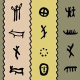 Coloured petroglyph pattern. Coloured seamless texture with petroglyphs  illustration Royalty Free Stock Image