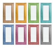 Coloured picture frame. Rectangle (brown, yellow, green, blue, violet, red, black stock images