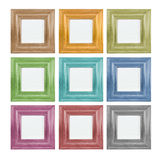 Coloured picture frame. Square (brown,  yellow, green, blue, violet, red, black Royalty Free Stock Photos