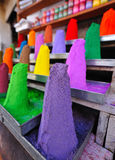 Coloured pigment powder. Piles of coloured pigment powder in rajasthan,india Royalty Free Stock Photography