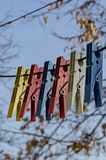 Coloured plastic clothes pins or peg on rope, Sofia. Bulgaria royalty free stock photos