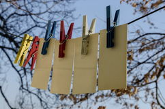 Coloured plastic clothes pins or peg on rope, Sofia. Bulgaria stock photos