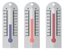 3 Coloured Plastic Thermometers. 3 plastic thermometer designs of varying temperatures and colours isolated on a white background Stock Photos