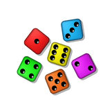 Coloured playing dices with shadow Royalty Free Stock Photos