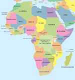 Coloured political map of Africa Royalty Free Stock Images