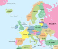 Coloured political map of Europe Royalty Free Stock Photography