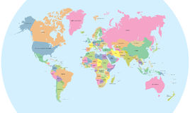 Coloured polityczna mapa światowy wektor Zdjęcie Stock