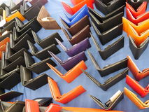 Coloured purses. A lot of coloured purses Royalty Free Stock Photography