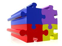 Coloured puzzle pieces Stock Image
