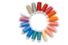 Coloured reels of thread Stock Photos