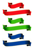 Coloured ribbons. Are a collection of banners in 2 different sizes and 3 different colors Royalty Free Stock Photos