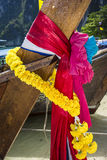 Coloured ribbons in a Thai longtail boat Royalty Free Stock Image