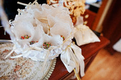 Coloured rice at basket for wedding party. Stock Image
