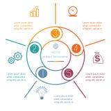 Coloured ringowy Infographic pięć pozycj Obraz Royalty Free