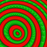 Coloured Rings. Abstract background with red and green rings Stock Photos