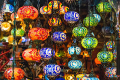 Coloured round lamps in Grand Bazaar Stock Photography