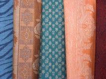 Coloured scarfs 2. Coloured scarfs at a bazaar, Istanbul, Turkey stock photos