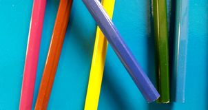 Coloured school pencils mixed toghether!. Let`s have fun! Back to school! Real photo royalty free stock photo