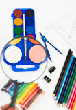 Coloured school supplies. The most useful supplies for children Royalty Free Stock Image