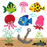 Coloured sealife background. Sea animals collection, ocean set, animal character stock illustration