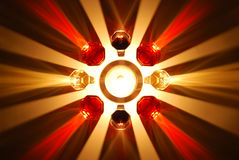 Coloured shadows of wine glass illuminated by a candle Royalty Free Stock Photo