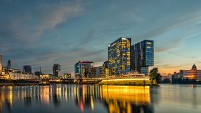 Duesseldorf media harbor skyline at night Stock Photo