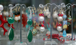 Coloured showy earrings Stock Photo