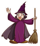 A coloured sketch of a witch with a broom Stock Image