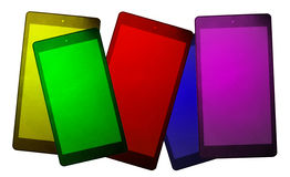 Coloured smart phones and tablets Stock Photography