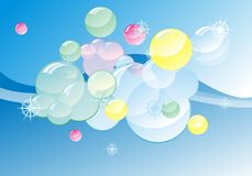 Coloured soap bubles on abstract gloss background royalty free illustration