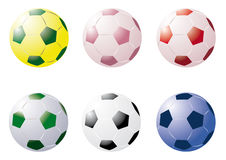 Coloured Soccer Balls Stock Photography