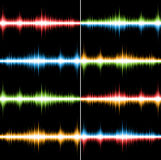 Coloured soundtracks. Set of 8 bright coloured seamless music patterns (Vector Stock Photo