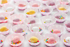 Coloured speckled candy Easter eggs Stock Photo