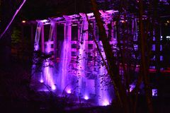 Illuminated Bridge and Waterfall. Coloured spotlights illuminate a japanese style bridge and waterfall in the forest at night Royalty Free Stock Photography