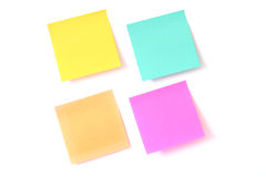 Coloured Sticky Notes. Sticky notes isolated on white stock photography