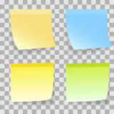 Coloured Sticky notes. On Transparent background. illustration Stock Photography