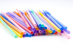 Coloured straws closeup Stock Photo