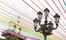 Coloured stripes for the fiesta of San Roque Stock Photography