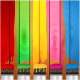 Coloured stripes of paint and brush Stock Photos