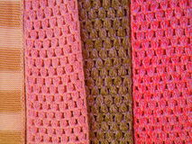 Coloured strips of knitting. At a craft fair on the island of Madeira, Portugal royalty free stock image