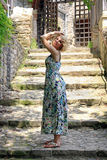 In the coloured summer dress Royalty Free Stock Photos