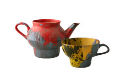 Coloured teapot and cup Royalty Free Stock Images